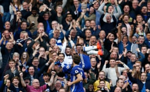 Victor Moses celebrates after scoring the third goal with Marcos Alonso.