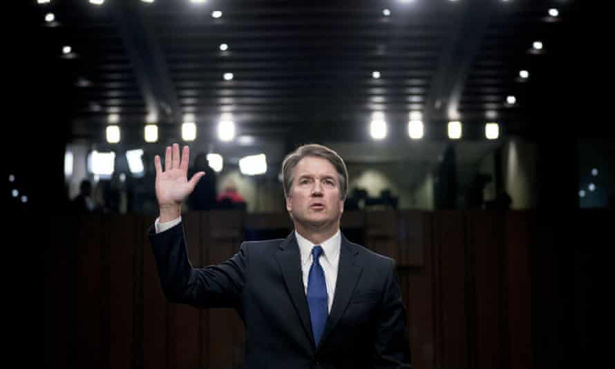 Brett Kavanaugh is sworn-in before the Senate judiciary committee on Capitol Hill in Washington.
