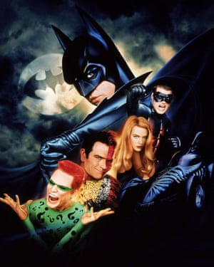 Val Kilmer, Jim Carrey, Tommy Lee Jones, Nicole Kidman and Chris O'Donnell in Batman Forever, 1995