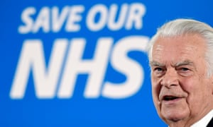 David Owen delivers a speech during the launch of Vote Leave's 'save our NHS' campaign on 6 April
