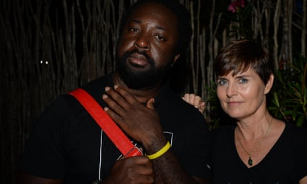 Marlon James with festival co-founder Justine Henzell.