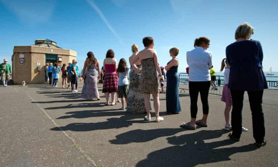 A queue for a women's toilet in Brighton