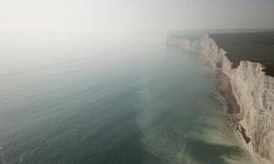 Haze seen over Beachy Head, causing evacuations along the East Sussex coast.
