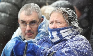 Everton fans brave the snow during a Premier League away game against Stoke City on Saturday.