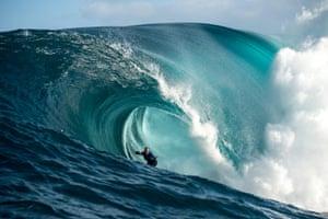 Mark Matthews inside a tube.