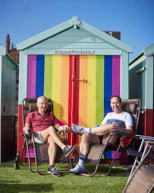 Clive Sanders (left) and Neil Cavalier-Smith outside their #HovePrideHut.