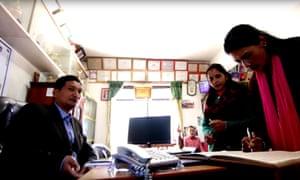School prinicipal Dor Bikram Shrees, left, is winner of the Integrity Idol Nepal 2016 award.