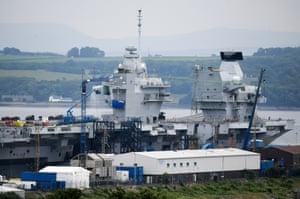 The HMS Queen Elizabeth Aircraft Carrier at Rosyth Dockyard