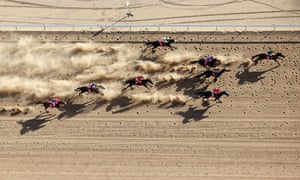 Adam Taylor's aerial view of the last race of the day in Birdsville, in the Queensland outback.