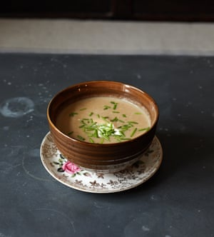 Celeriac soup with a dash of parsley oil.