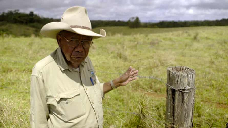 Ernie Raymont, a Mumu-Ngajdon elder, at Boonjie in Australia, close to where the Butchers Creek massacre took place in 1887. This is close to the place from which the Ngadjon boy, who would become Douglas Grant, was stolen.