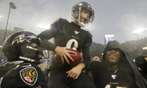 Justin Tucker is carried off the field by his teammates after making a game-winning field goal against the San Francisco 49ers last season