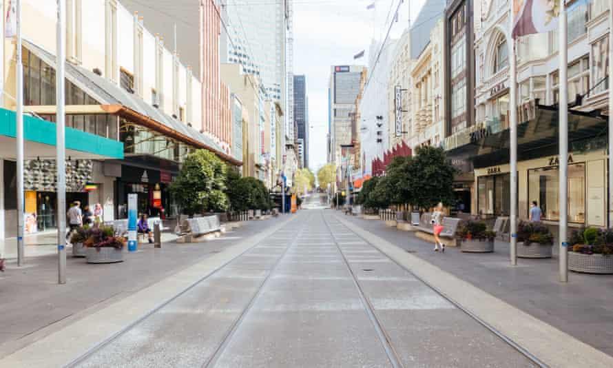 An empty Bourke Street in Melbourne