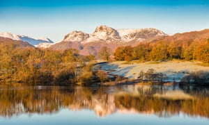 Mountains reflected in Loughrigg Tarn, Cumbria, UK.