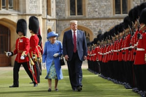 President Donald Trump with Queen Elizabeth II, inspecting the Guard of Honour at Windsor Castle.