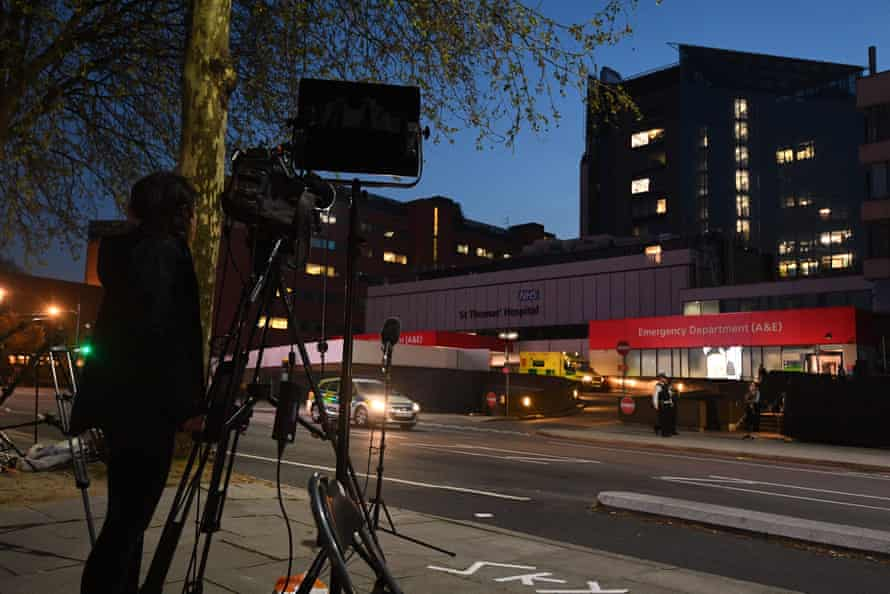 The media outside St Thomas' hospital in central London on 9 April
