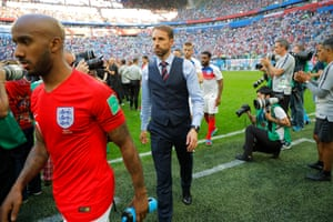 Gareth Southgate exits the field. It's all ended a day too early for his liking.