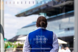 A social distancing officer