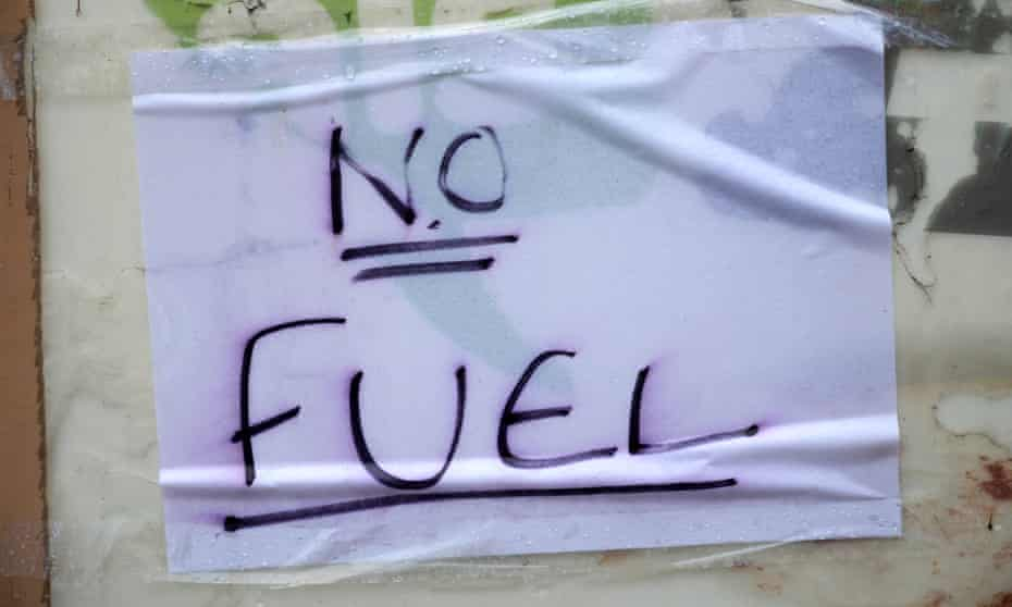 A sign informs motorists of 'no fuel' at a petrol station in Northwich