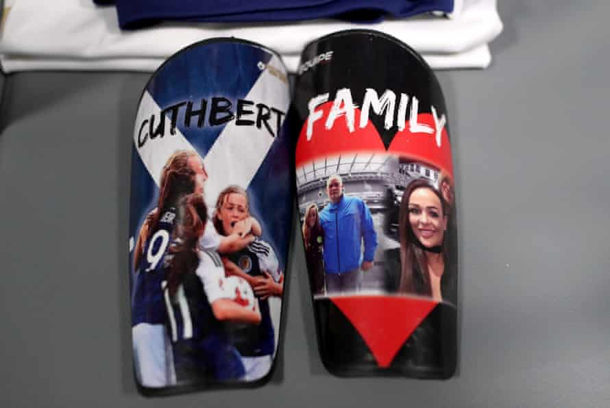 The shin pads of Erin Cuthbert of Scotland are seen in the dressing room prior to a group D match between England and Scotland at Stade de Nice.