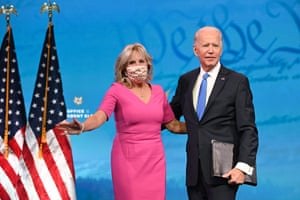 Joe Biden arrives with wife Jill Biden to deliver remarks on the Electoral college certification on Monday.
