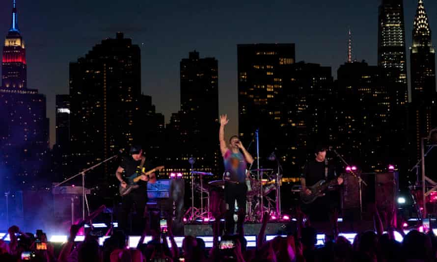Coldplay rehearse for the 2021 Macy's Fourth of July fireworks spectacular in New York.