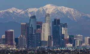 Snow seen on the San Gabriel mountains beyond Los Angeles last month