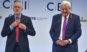 Jeremy Corbyn with businessman Paul Drechsler at the CBI Conference.