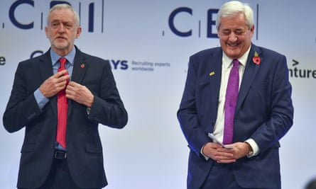 Jeremy Corbyn and Paul Drechsler, president of the CBI, at the confederation's conference in November.