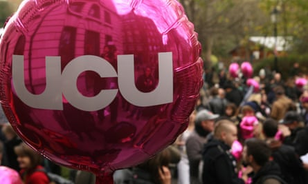 University College Union balloon during a public sector workers strike in London, UK