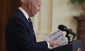 Joe Biden speaks during the first formal press conference of his presidency.