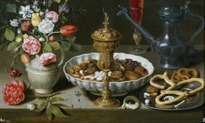 A detail of Clara Peeters' Still Life with Flowers, Gilt Goblet, Dried Fruits, Sweets, Biscuits, Wine and a Pewter Flagon (1611).