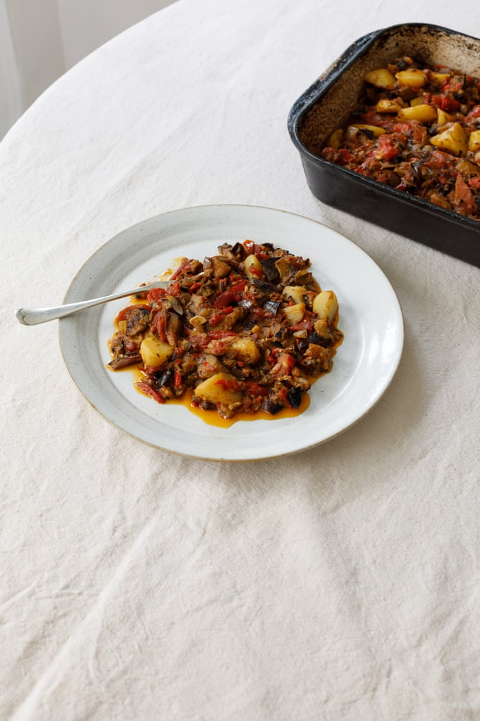 April Bloomfield's braised aubergines with potatoes , inspired by the River Cafe.