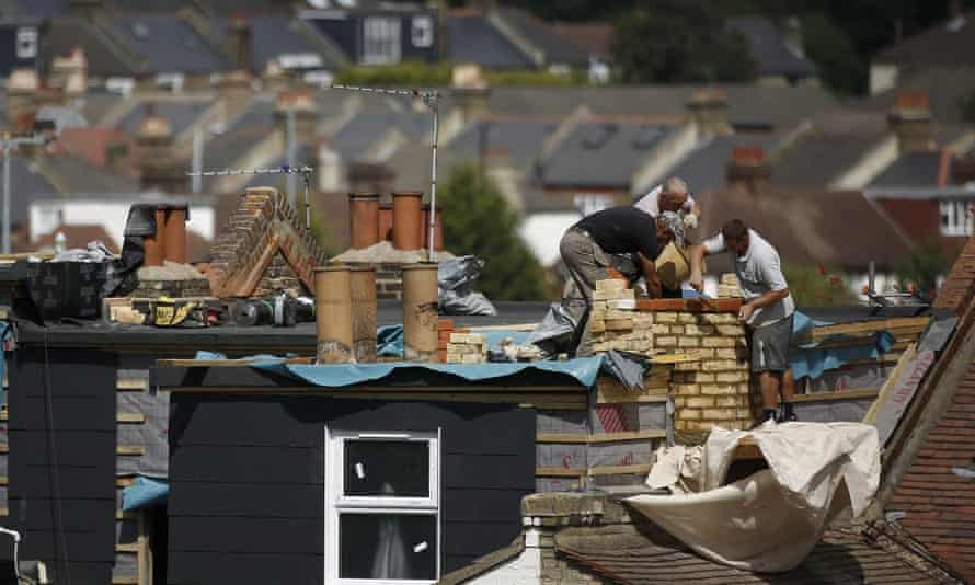 Builders working on a loft extension in Tulse Hill, London