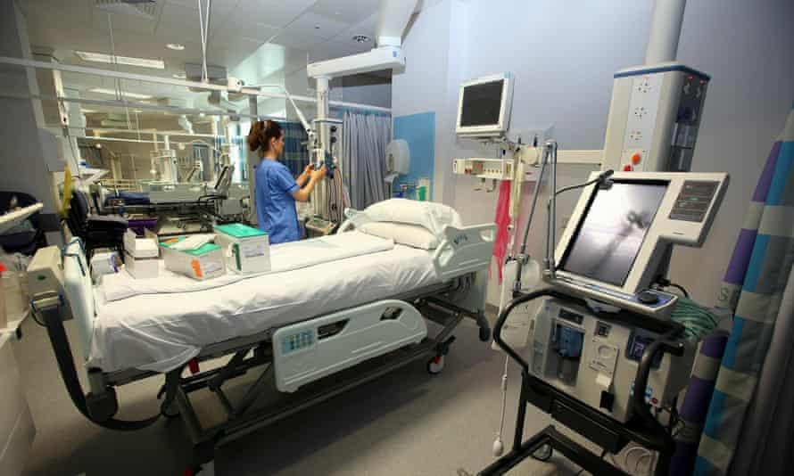 A staff member prepares equipment in the critical care unit of the Queen Elizabeth hospital in Birmingham.