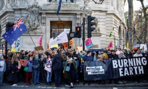 An Extinction Rebellion protest at Australia House in London on 10 January.