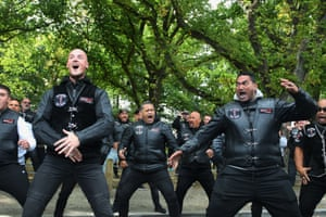Members of the Tu Tangata Riders Iwi Tapu motorcycle club perform a haka in support of the Muslim community at the Al Noor mosque, Christchurch, New Zealand