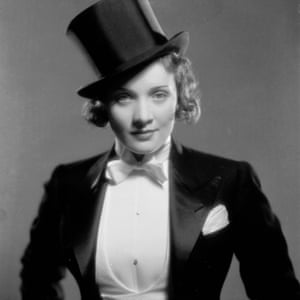 Marlene Dietrich in her Hollywood film debut as the tuxedo-clad Amy Jolly in Morocco, directed by Josef von Sternberg.