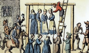 The public hanging of witches in Scotland, 1678.