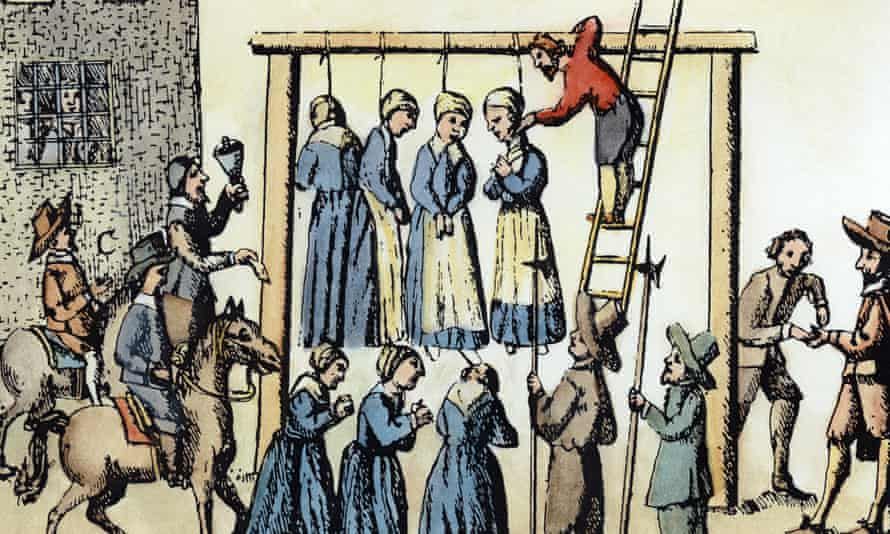 1678 engraving of the public hanging of witches in Scotland.