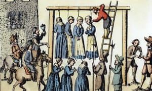 The public hanging of witches in Scotland. Coloured engraving, 1678.