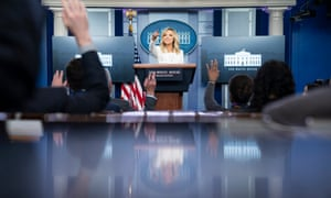 Kayleigh McEnany, the White House press secretary, speaks during a briefing at the White House.
