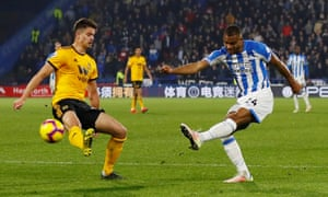 Steve Mounie in action for Huddersfield against Wolves last season
