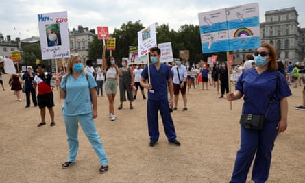 NHS workers at the protest in London on Saturday.