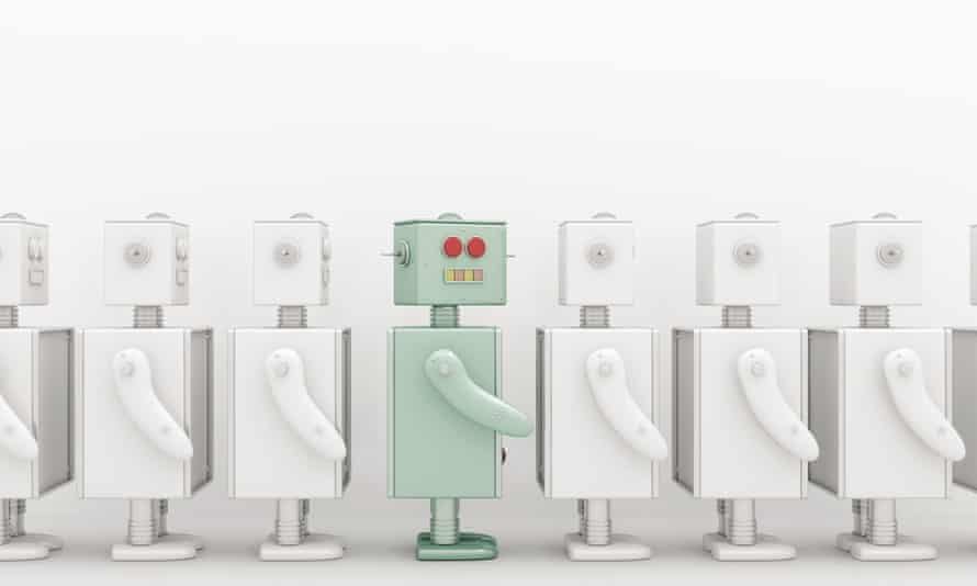 Row of white robots with a coloured one in between, 3D Rendering