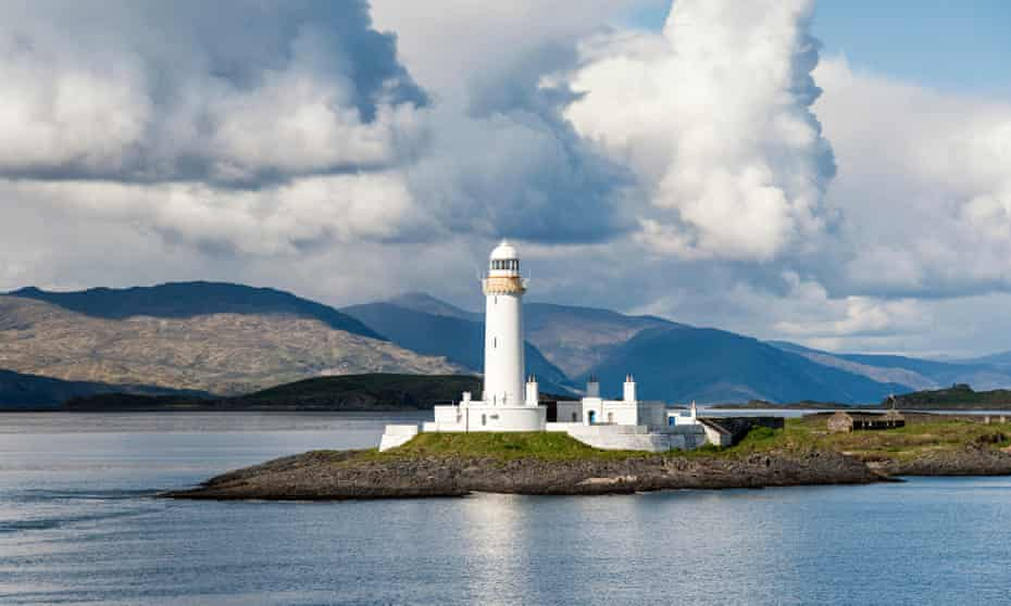 Lismore Lighthouse, seen from the ferry between Oban and Mull.