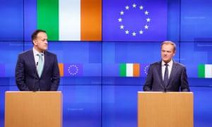 Taoiseach Leo Varadkar (left) and Donald Tusk in Brussels