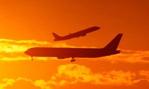 Passenger planes landing and taking off