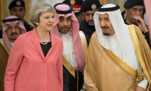 Theresa May and King Salman in Riyadh during the prime minister's visit to Saudi Arabia in April