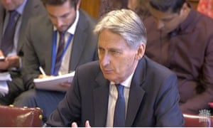 Philip Hammond giving evidence to Lords committee.